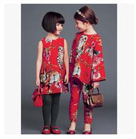 Wholesale big brand summer new girls flower vest dress children princess dress 7pcs/lot