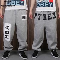 2015 Hba west hiphop hip-hop trousers male Women pyrex loose plus size plus velvet plus size casual sports health pants