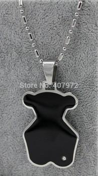 Новый женщины ожерелья мода женщин из нержавеющей стали медвежонок ожерелье с diam0nd черный tn226