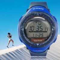 Hot Unisex LED Digital Clock Solar Powered Waterproof Digital Wrist Watches Men's Sport Military Watches