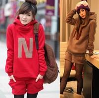 Hot Selling,Women's Occident Girls' Fleece Letters Hoodie Set,Leisure Sweatshirt Set,2 Pieces(Short Pant+Cloth).Size M/L/XL