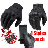 Perforated Leather Waterproof Touch Motorcycle Gloves Moto Motorbike Protective Gears Motocross Glove