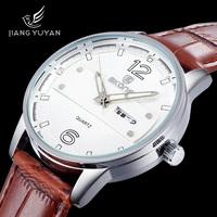 2015 Skone Brand Luxury Men's Quartz Watch Fashion Round Dial Week Date Display PU Leather Men Business Casual Wristwatches