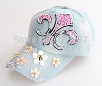 2015 Hot sale!MOQ=1PCS New Denim With Rhinestone trumpet flower Baseball Cap Fashion Women peaked Caps Sun Hats