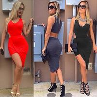 4 Color New Women Sexy  Cotton Asymmetrical Maxi  Dress Bandage  Sleeveless Summer  Beach Long Dress 4345