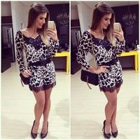 European brand Hot sale women dress Long-sleeved dress women stitching Sexy leopard lace dress for women