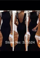 New fashion high neck cap sleeves crystal beaded open back sexy black long mermaid prom dress party dress 2014 ED018