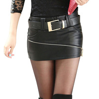 2015 new Women's wild fashion PU leather skirt saias femininas vestidos leather pencil skirt plus size