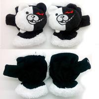 Free Shipping New Super Dangan Ronpa 2 Danganronpa gloves Monokuma bear Black&White Bear winter Plush Warm Mittens gloves