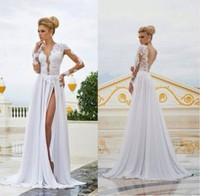 Wedding 2014 open back deep v neck seyx beach wedding dress Long sleeves chiffon bride dress WD716