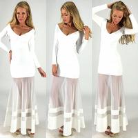 New Women Sexy Black White Evening Party Sheer Panel Dress Bandage Summer Deep V Neck Long Dress 4171
