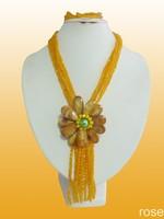 FWE455 Rose the latest design semi-precious stone necklace  bracelet set