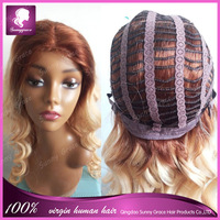Peruvian hair loose wave ombre color machine made wig with PU wholesale cheap peruvian virgin human hair wig with baby hair