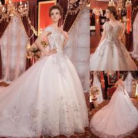 2014 real photo shooting crystal beaded luxurious wedding dress v neck cap sleeves open back sexy bride dress royal train EV0119