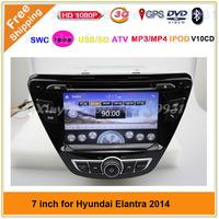 "7"" Car dvd player for Hyundai Elantra 2014 with GPS,Bluetooth,Ipod,TV,Radio,3G WIFI usb host Free map"