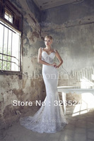 New Arrivals Spaghetti straps Sweetheart See throught Lace wedding dress RD13001c