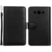 New Black Luxury Wallet Stand Leather Skin Cover Case for Samsung Galaxy Grand Neo i9060 With Credit Card