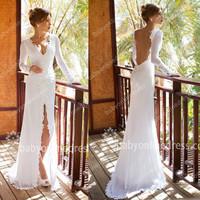 vestidos de noiva Long sleeves v neck backless slit out sexy long chiffon mermaid wedding dress JV705