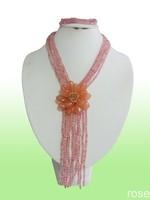 FXS771 Rose the latest design semi-precious stone necklace  bracelet set