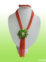 FNHG667 Rose the latest design semi-precious stone necklace  bracelet set
