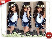 Retail 2015 new  children girls summer clothing set Children 3pcs Flower shirts +white shirts+denim shorts children cloting