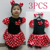 MInnie Dress + Headband BABY Girls TUTU Dresses Red Polka Dot Fantasia Minnie Festa De Aniversario Com Tiara Vestido Infantil