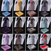 New Paisley Floral 100%Silk Gravata Jacquard Mans Tie Necktie Pocket Square Handkerchief Set Suit