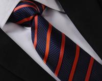Orange Dark Blue Stripes Tie WOVEN JACQUARD Silk Men's Suits Ties Necktie