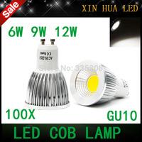 100pcs  Super Bright  Dimmable  GU 10 Bulbs Light Led Warm/White 85-265V 6W 9W 12W GU10 COB LED lamp light GU 10 led Spotlight