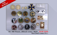Amazing!!! 500pcs/$490 Clearance sale Mix 500 coin (Mandela coin + 2014 Brazil world cup coin +Four-leaf clover coin etc)