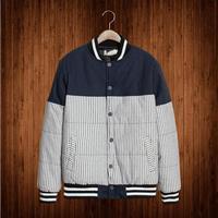 Original design new winter 2014 men's fashion Slim striped baseball jacket collar coat male tide