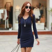 New Listing Korea Fashion Sweet Women Slim Dress V-Neck Solid Knee-Length A-Line Women Long Sleeve Knitting Winter Dresses