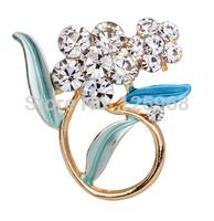 Free Shipping!2015 New 3pcs/lot Fashion Elegant Grass flower Rhinestone Brooches Women Crystal Brooches Pins