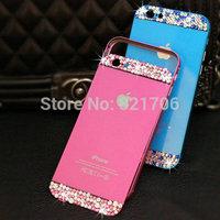 Newest ultra-thin luxury original back cover shining Rhinestone fram diamond metal case for iPhone 6 6plus 5S free shipping