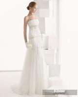 Rhine 2015 Glamorous Spaghetti Straps Sheath Wedding Dresses Applique White Floor Length Chiffon Bridal Gowns Wedding Gowns
