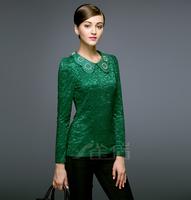 High quality 2015 spring autumn Lace Shirts fashion Slim Long Sleeve Elegant beading Crochet Peter Pan collar  blouse clothing