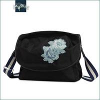 PARADISE Flower genuine leather women's nylon handbag embroidered bag messenger bag female bag women's handbag