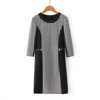 2015 New European women Grid splicing leisure female casual Dress WD0560