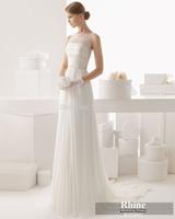 Rhine 2015 Glamorous Scoop Neck Sheath Wedding Dresses Beading White Sweep Train Chiffon Bridal Gowns Wedding Gowns