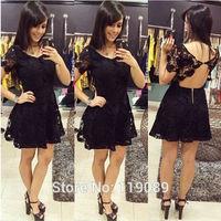 2015 Casual Curto Festa Women Sexy Lace Crochet Mini Floral Backless Dresses Club  Party Black Plus Size Vestidos Bodycon HBQ041