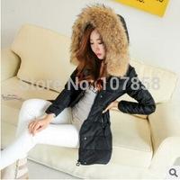 2014 New Brand Down & Parkas European Fashion Raccoon Fur collar Women Winter thick Hooded Jacket Women Warm Coat Factory Direct