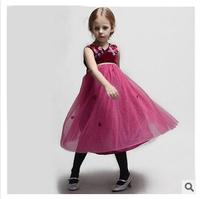 Wholesale 2014 Europe and America summer new girls flower jacquard dress girl lace princess dress 7pcs/lot