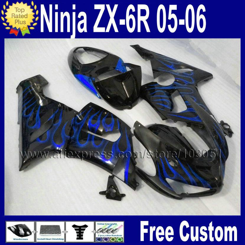7gifts Custom motorcycle fairing bodykits for kawasaki ninja 2006 2005 ZX 6R ZX6R 636 05 06 ZX-6R blue flame black fairings kits(China (Mainland))