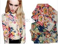 Blusas Femininas Womens Tops Fashion 2015 Long Sleeve Plus Size Flower Print Chiffon Blouses Shirts