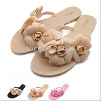 hot sale new summer women sandal shoes camellia slipper jelly shoes crystal flower flops slippers flats beach trailer size 36-41
