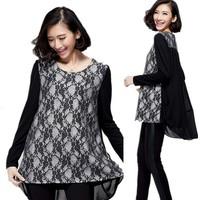 Free Shipping Spring 2015 Plus Size Thin Women Korean Fashionable Vintage Lace Shirts , T-Shirts XL-XXL-XXXL-XXXXL