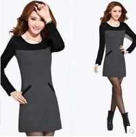 Hot sale plus fine hair  thicken winter dress winter  korean autumn clothing large size long sleeve Wcloset C64