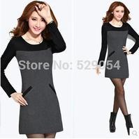 Hot sale plus fine hair  thicken winter dress winter  korean autumn clothing large size long sleeve Wcloset C64