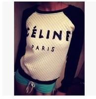 2015 new Women Hoody Spring Autumn Long Sleeve Casual Sweatshirt women hoody Letter Print Hoodies Paris casual Moleton Feminine