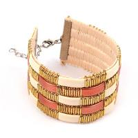 Promotion 2015 New Spring Summer Women's Girl Colorful Plaid Check Pattern Leather Wide Bracelet Bracelets Bangles 4 Color SL188